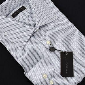 IKE BEHAR White Navy Geometric Dress Shirt NWT